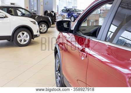 Russia, Izhevsk - March 19, 2020: Nissan Showroom. New Cars In The Dealer Showroom.