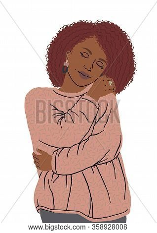 Portrait Of Nice African American Woman Hugging Herself. Oneself Happy And Positive, Smiling Confide