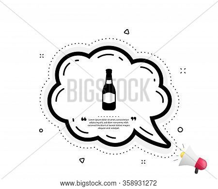 Beer Bottle Icon. Quote Speech Bubble. Pub Craft Beer Sign. Brewery Beverage Symbol. Quotation Marks