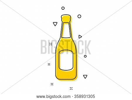Pub Craft Beer Sign. Beer Bottle Icon. Brewery Beverage Symbol. Yellow Circles Pattern. Classic Beer