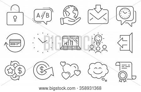 Set Of Technology Icons, Such As Loyalty Points, Sign Out. Diploma, Ideas, Save Planet. Dollar Excha