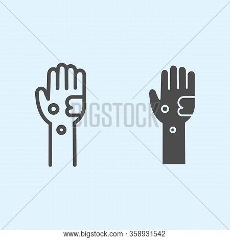 Dirty Hand Line And Solid Icon. Bacteria And Infection On Muddy Hands Outline Style Pictogram On Whi