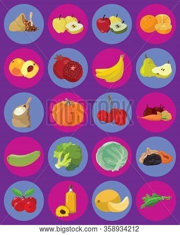 Vegetables, Fruits, Berries, Cereals, Oil - Cooking Vegan Ingredients