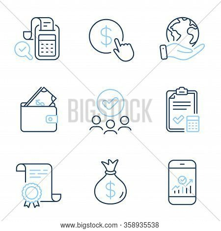 Buy Currency, Money Bag And Wallet Line Icons Set. Diploma Certificate, Save Planet, Group Of People