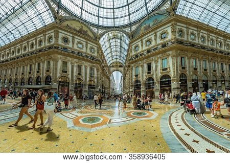 Milan, Italy - August 1, 2019: Famous Galleria Vittorio Emanuele Ii In A Beautiful Summer Day In Mil
