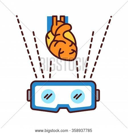 Vr Cardiac Surgery Color Line Icon. Virtual Reality In Medicine. Pictogram For Web Page, Mobile App,