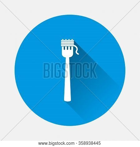 Vector Fork And Spaghetti Icon On Blue Background. Flat Image With Long Shadow.