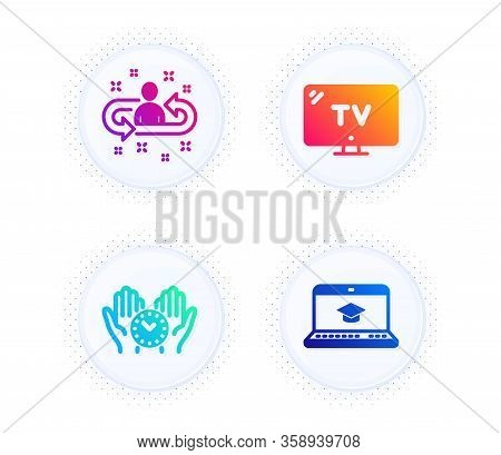 Tv, Recruitment And Safe Time Icons Simple Set. Button With Halftone Dots. Website Education Sign. T