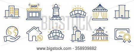 Set Of Buildings Icons, Such As Circus, Sports Stadium. Certificate, Save Planet. University Campus,
