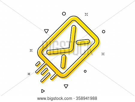 Message Correspondence Sign. Mail Delivery Icon. E-mail Symbol. Yellow Circles Pattern. Classic E-ma