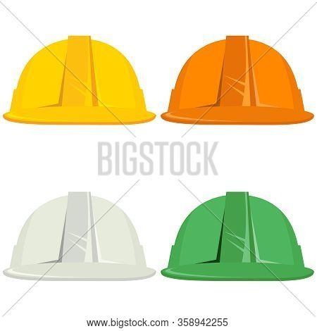 Construction Helmet, Set Of Construction Helmets Isolated On White Background. Vector, Cartoon Illus
