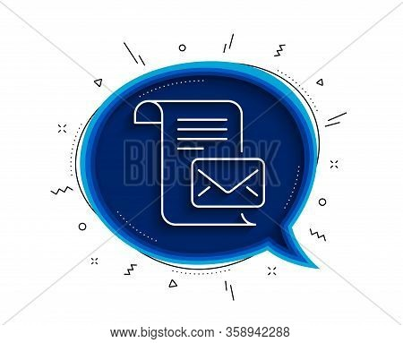 Mail Letter Line Icon. Chat Bubble With Shadow. Read Message Correspondence Sign. E-mail Symbol. Thi
