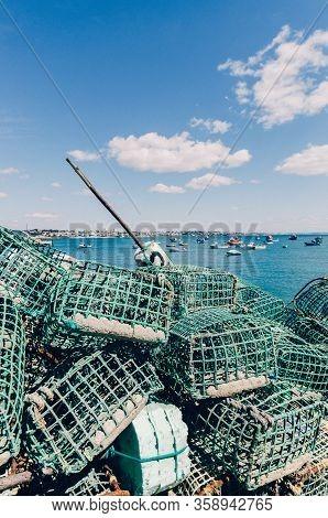 Old Fishing Equipment In Cascais Port Near Lisbon, Portugal