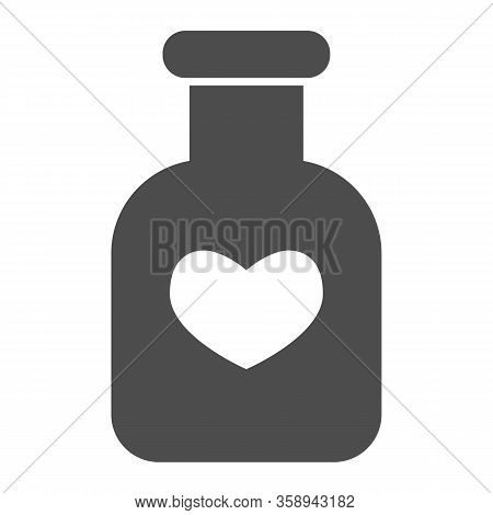 Potion Flask Solid Icon. Bottle Of Love Spell Elixir And Heart Shape Symbol, Glyph Style Pictogram O