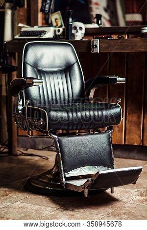 Vintage Barber Chair. Barbershop Business. Modern Hairdresser And Hair Salon. Barber Shop For Men.