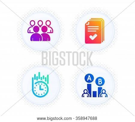 Fast Delivery, Handout And Group Icons Simple Set. Button With Halftone Dots. Ab Testing Sign. Stopw