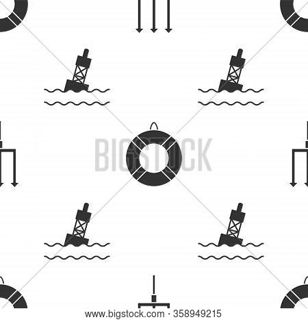 Set Neptune Trident, Lifebuoy And Floating Buoy On The Sea On Seamless Pattern. Vector