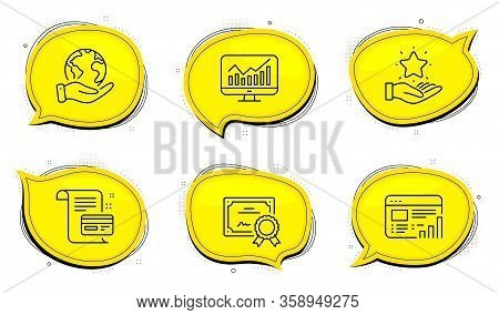 Loyalty Program Sign. Diploma Certificate, Save Planet Chat Bubbles. Payment Card, Statistics And We