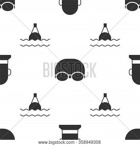 Set Buoy, Glasses And Cap For Swimming And Floating Buoy On The Sea On Seamless Pattern. Vector