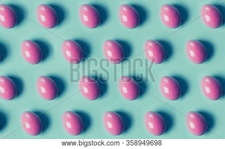 Pink Colored Easter Eggs On Blue Background Pattern. Easter Concept Abstract.