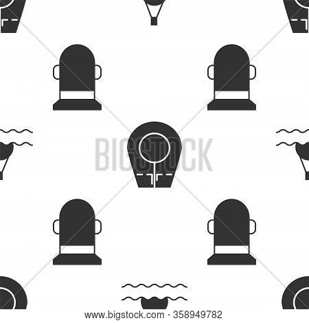Set Floating Buoy On The Sea, Diving Hood And Buoy On Seamless Pattern. Vector