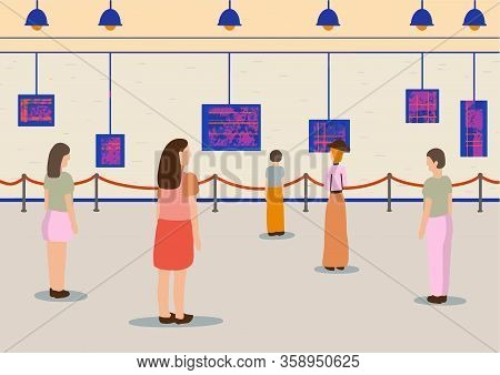 Art Gallery Visitors People Man, Woman. Regarding Creative Artworks Or Exhibits In Museum. Vector Si