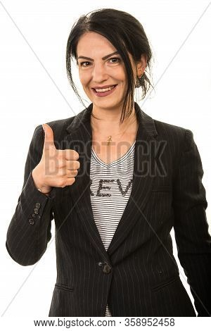 Successful Business Mid Adult Woman Showing Thumbs Up Isolated On White Background