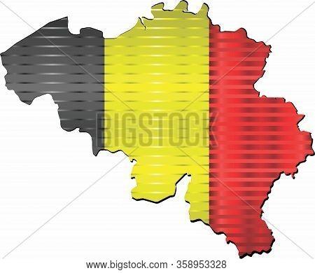 Shiny Grunge Map Of The Belgium - Illustration,  Three Dimensional Map Of Belgium