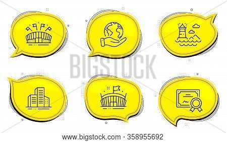 Lighthouse Sign. Diploma Certificate, Save Planet Chat Bubbles. Sports Arena, Arena And Buildings Li