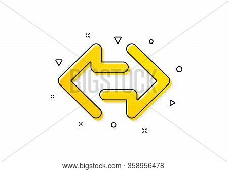 Communication Arrowheads Symbol. Sync Arrows Icon. Navigation Pointer Sign. Yellow Circles Pattern.