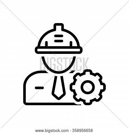 Black Line Icon For Engineer Helmet Occupation Hat Maintenance Safety Equipment Work Config Repair M