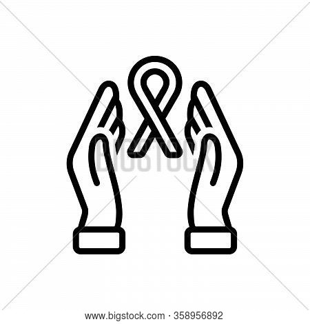 Black Line Icon For Hope Cancer Save Expectation Prospect Expectance Expectancy Awareness Healthcare