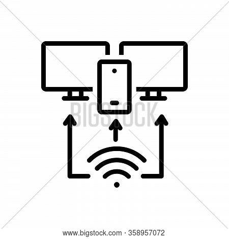Black Line Icon For Provision Arrangement Plan Providing Access Network Technology Management Wifi