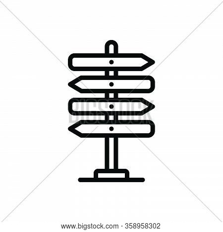 Black Line Icon For Guideline Direction Sign-post Sign Arrow Decision Destination Travel Road Blank