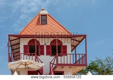 Colorful Architecture In Cape Verde, Caribbean House Exterior, Sal Island, Cape Verde.