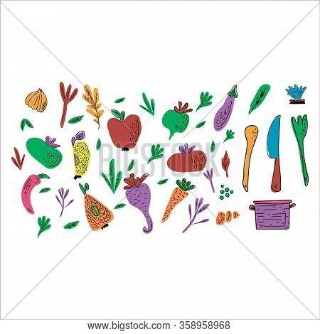 Cooking Flat Hand Drawn Illustration Set. Design Elements Of Kitchen Utensils, Vegetables And Fruits