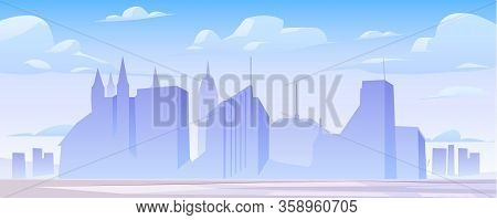 Urban Cityscape Panoramic Banner Vector Cartoon Illustration With Buildings Silhouette, City Skyline