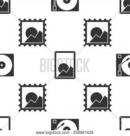 Set Vinyl Player With A Vinyl Disk, Picture Landscape And Picture Landscape On Seamless Pattern. Vec