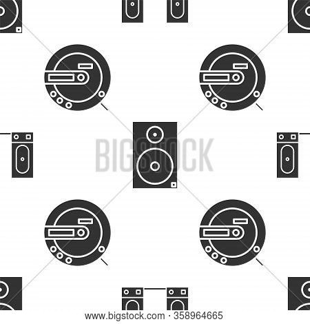 Set Stereo Speaker, Stereo Speaker And Music Cd Player On Seamless Pattern. Vector