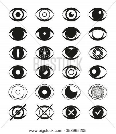 Eye Flat Icon Set. Open Eyes Images, View Simple Eyeball Signs Isolated On White Background. Ophthal