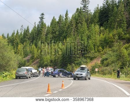 Svalyava, Ukraine. August 11, 2019: Fatal Traffic Accident. Real Event. Two Cars Crashed On The Road