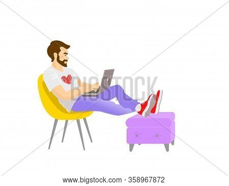 Freelancer Works From Home At Relaxed Pace, Convenient Workplace. Self-employed Concept. Adorable Ma