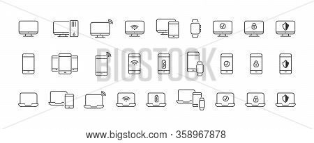 Set Of Linear Icons For Your Computer And Mobile Device. An Empty Polygon Isolated On A White Backgr
