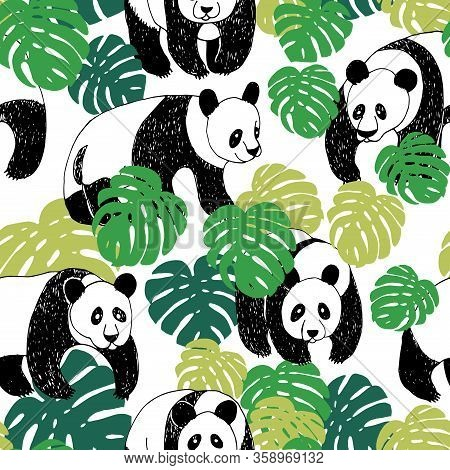 Panda Seamless Pattern In Sketch Style. Hand Drawing Panda Pattern Illustration With Monstera Leaves
