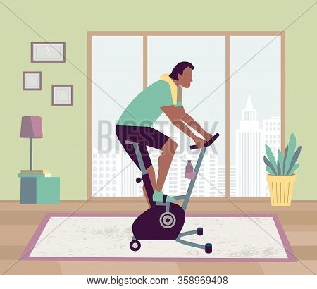 Healthy Man Riding Stationary Bike Stay At Home Flat Vector. Workout At Home Gym Cardio Fitness Trai