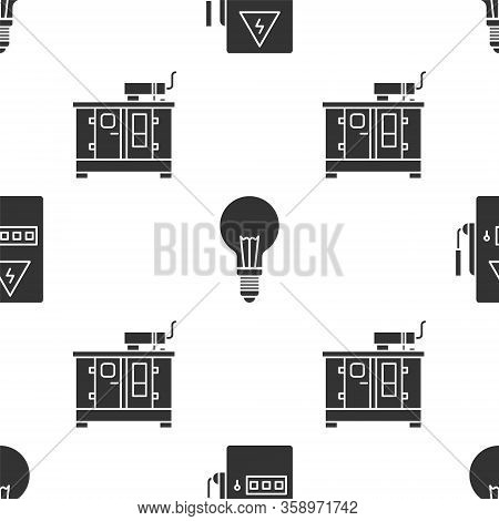 Set Electrical Panel, Light Bulb With Concept Of Idea And Diesel Power Generator On Seamless Pattern