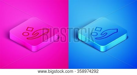 Isometric Line Cube Levitating Above Hand Icon Isolated On Pink And Blue Background. Levitation Symb