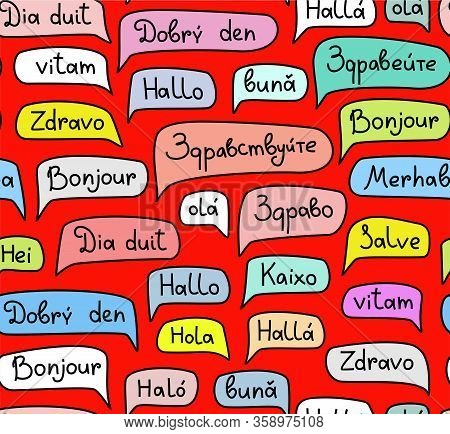 Hello, European Languages, Seamless Pattern, Contour Drawing, Color, Red, Vector. The Word