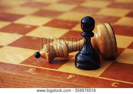 Chess End Game, White King Defeated By Black Pawn