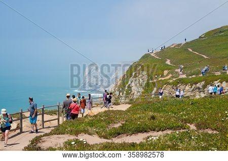 Cape Roca, Portugal - June 14, 2017: Cape Roca Cabo Da Roca - Westernmost Point Of Europe And Eurasi